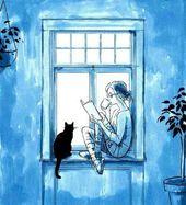 Mein typisches ich: lesen, Tee trinken und in Gesellschaft einer Katze