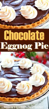 Chocolate Eggnog Pie #eggnog #chocolatepie #eggnogrecipes #christmas #holidayrec…
