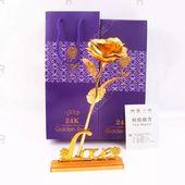 Tagesgeschenk 24 Karat Goldfolie Künstliche Rose Blume Valentinstag Geburtstagsgeschenk   – Anime eyes