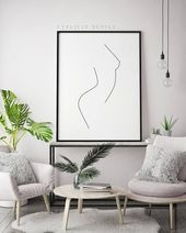 Single Line Nude Female Printable Figure, Minimalist Woman Body Art Profile, Female Shape Prints, Fine Art, Thin Single Line Print – My Blog