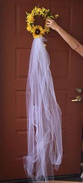 Sunflower bridal shower wreath #sunflower wedding