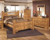 Bittersweet King Bedroom Set with Poster Bed  Dresser  Mirror and Chest in Light
