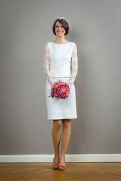 Grace bröllopsklänning med peplum och spetsmuffar – Jekyll och klänning