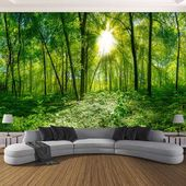 Custom 3D Photo Wallpaper 3D Stereoscopic Space Green Forest Trees Nature Landscape Large Mural Wallpaper For Living Room Modern   – Creative