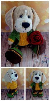 Crochet dachshund dog amigurumi free pattern – Patrones de amigurumi gratis   – Häkeln