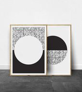 Scandi Print Set, Minimalist Wall Artwork, Digital Print, Fashionable, Geometric Print, Black and White Print, DIY House Decor, Scandinavian Fashionable