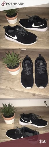 Black & White Nike Roshe Sneakers Super cute but too small on me!! There are a f…