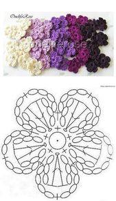 Schöne gehäkelte Blume auf einer japanischen Seite – Salvabrani – Hakeln Ideen