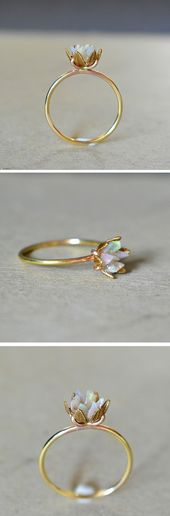 Unique Opal Ring, Yellow Gold Lotus Flower Ring, Uncut Opal Engagement Ring, Raw Rough Fire Opal Jewelry, October Birthstone, Any Size – Diy crafts