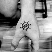 Mini tat #minitattoo #finelinetattoo #shiptattoo #shipwheeltattoo #smalltattoo