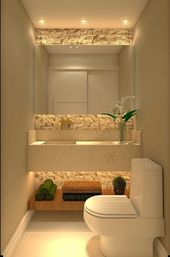 Small decorated lavatory with large mirror; Highlight – #bath #decorated #destaq