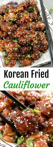 Koreanischer gebratener Blumenkohl. Eine unterhaltsame vegetarische Variante des gebratenen Huhns im koreanischen Stil. …