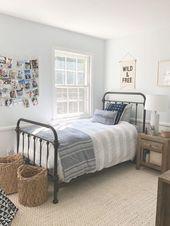 modern farmhouse boy bedroomm decor with iron bed …