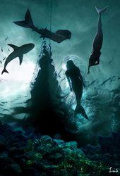Tres Sirenas Sirenas Mar Y Playa Fondo De Mar