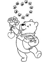 Winnie The Pooh The Honey Bear Holding Flowers And Honey Jar Coloring Pages Coloring Sky In 2020 Bear Coloring Pages Coloring Pages Winnie The Pooh