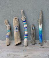 Natural Painted Driftwood Sticks, Evil Eye, Beach Home Decor, Ombre Driftwood Decor, Set of 5
