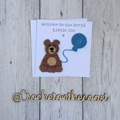 Baby Cards Personalised new baby card, personalised first birthday card, crochet teddy bear...