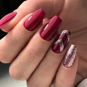 36+ Pretty Trending Fall Nails; coffin nails; Fall gel nail; short burgundy nail…