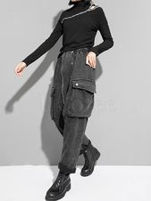 Trendy schwarze Reißverschluss-Fleecez-Haremshose   – great loose clothes
