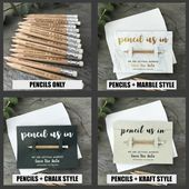 Pencil Us In Save the Dates Personalised – Wedding Invitations – Engraved – (Marble, Chalk or Kraft Style Backing card & Envelopes Option)