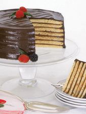This layer cake is a chocolate lovers dream. The seven moist layers of yellow ca…