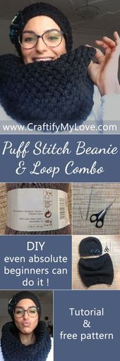 Puff Stitch Beanie & Loop Combo Even Absolute Beginners Can Do – A Free Pattern