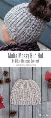 12 Easy Patterns for Messy Bun Crochet Hat – Craft-Mart