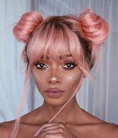 Nyme Anime Style Baby rosa dunkle Wurzeln volle Spitzeperücke mit Fringe Bang zwei Brötchen Echthaar Perücke Babyhaar gebleichte Knoten natürlichen Haaransatz