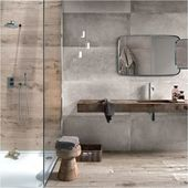 A wall niche in the shower provides space for you to …