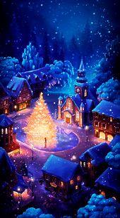 Photo of Weihnachtsgeschenk. Weihnachtsbaum in der Mitte des Dorfes.