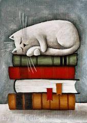 Auf die Bücher Katze, Katze Zeichnung, Katze, Katze Cartoon lesen Room decor