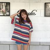 Oversized Loose Rainbow Striped TShirt l Casualwear l Rainbow Ramen