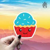 Kawaii Cupcake Vinyl Sticker, Best Friend Gift, Cute Stickers, Food Decal, Macbook Decal, Stickers M