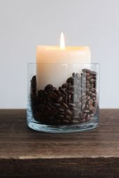 I made this very easy #DIY #HomeDecor accessory. Vanilla #candle + #coffee beans… – #acces…
