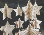 Papier-Mobile Kartensterne Papier Stern Mobile, Papierschmuck, Kinderzimmer Dekor, Stern Mobile, Karten, Landkarte, Vintage-Buch, Reise-Geschenk-Karte – Christmas