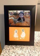 "Baby Bump ""Gap hat and onesie. Ghosts made from foot prints! Made a great gift to his Gr..."