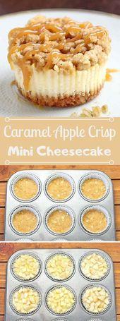 Caramel Apple Crisp Mini Cheesecakes #mini #apple #desserts #caramel #easy