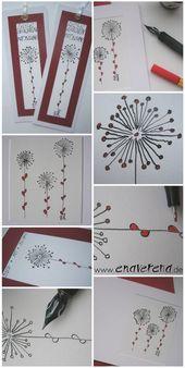 Karten mit Stift und Fineliner, Lesezeichen   – Hobbys