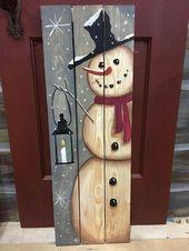 Schneemannbrett aus Holz DIY