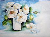 Aquarellblumen: Weiße Rosen