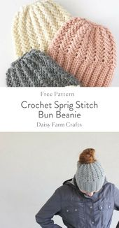 Crochet Sprig Stitch Bun Beanie
