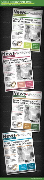 Wedding Card Newspaper Style  #GraphicRiver         Detail    Layered PSD files …