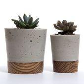 Mini Concrete Planter – Zebra Holzsockel von Wasatch Creative