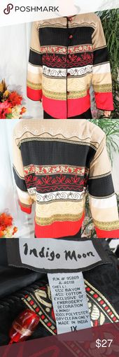 Indigo Moon Red Black Gold Embellished Jacket Stunning wearable art jacket. Rich… –  – #art #Black #Embellished #Gold #Indigo