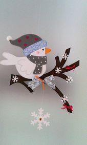 Fensterbild – Vogel auf dem Zweig Winter – Weihnac…