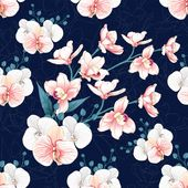 Seamless pattern pink orchids abstract background. Premium …  – cover design