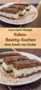 Low Carb Coconut Bounty Cake – Simple recipe with no sugar   – Low Carb Kuchen Rezepte
