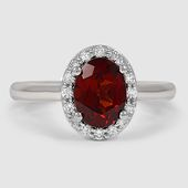 rubies.work/… 18K White Gold Fancy Halo Diamond Ring // Set with a 8x6mm Red O…