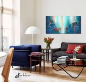 Abstract flower art work – Navy blue, aqua, orange – Floral canvas wall art over bed, above couch de
