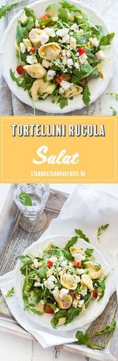 Vegetarian tortellini and rocket salad with mustard dressing Healthy vegetarian …